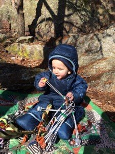 Climbing with kids, even babies, works with lots of teamwork and ground support. [Image Erica Lineberry]